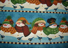 Snowmen on Blue Snowflakes Christmas Winter Border Quilting Cotton Fabric BTHY