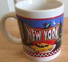 New York city Coffee Mug 1998 Yellow Cab Big Apple Twin Towers  pre 9 11