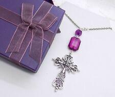 New Purple Tibetan Silver Cross Car Mirror Hanging Ornament  *GIFT BOXED*