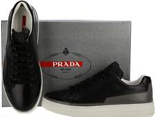 NEW PRADA LADIES BLACK GRAY LEATHER PLATFORM CURRENT LOW TOP SNEAKERS SHOES 36.5