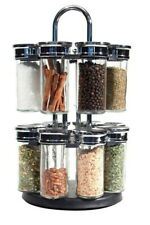 16 Revolving Herbs Kitchen Spice Rack Carousel Stand - 2 Tier glass jars