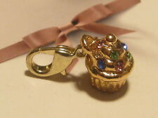 LOBSTER CLIP ON  GOLD/PL DIAMANTE CUPCAKE/MUFFIN - FIT CARRIER BRACELET