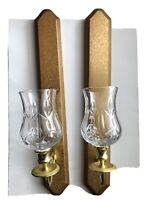 Set Of 2 Home Interior Wood Brass Wall Sconces With Votives Candle Holder Homco