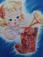 1940-50s Angelic GIRL w Mesh Net CHRISTMAS STOCKING w TOYS Vtg GREETING CARD