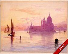 SUNSET IN VENICE ITALY SANTA MARIA & DOGANA PAINTING ART REAL CANVAS PRINT