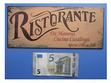 "Targa vintage ""Ristorante da Mamma Cucina Casalinga"", metallo, cm 25x11"