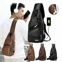 Men's Vintage Leather Sling Chest Bag Backpack Crossbody Shoulder Messenger Pack