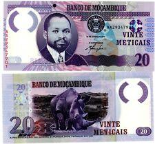 MOZAMBIQUE BILLET 20 METICAIS 2011 P194 AA POLYMER S. MACHEL Rhinoceros NEUF UNC
