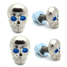 4 Silver Plated Aluminum - Custom License Plate Frame Tag Bolts -Skull Blue Eye