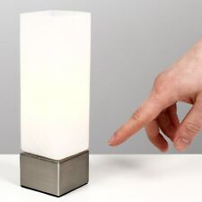 Metal & Glass LED Touch Table Lamp Light Square Frosted White Glass Shade