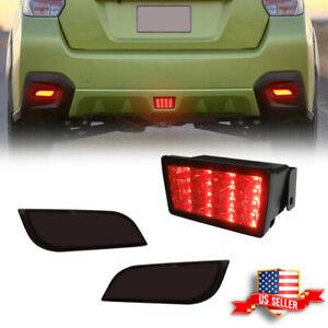 Red LED Rear Bumper Reflectors Tail Brake Lamp For 2013-up Subaru XV CrosstreK