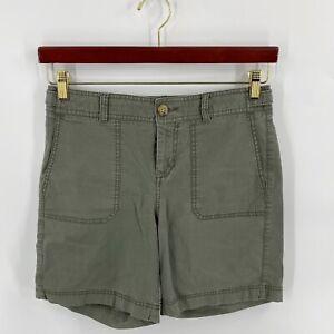 Dockers Khaki Shorts Size 4 Olive Green Mid Rise Curvy Bermuda Style Womens