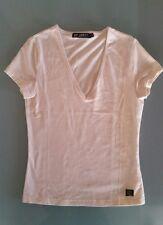 T shirt maglia donna panna 55% seta 40% cotone taglia S scollo v NUOVA