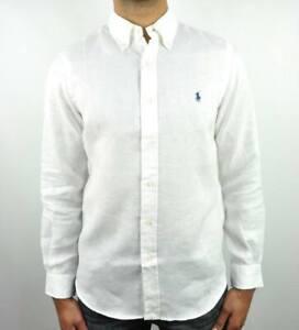 Polo Ralph Lauren Linen White Custom Fit Shirt , shirt
