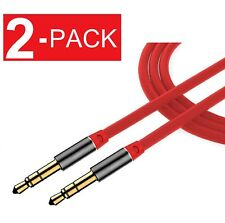 (2-Pack) 3.5mm Male to Male Aux Cable Cord Car Audio Headphone Jack Red
