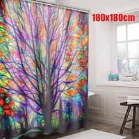 180x180cm Colorful Tree Leaves Waterproof Bathroom Shower Curtain With 12 Hooks