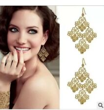 Boho Chic Gold Mesh Stella Crew Dot Chantilly Lace Chandelier Earrings US Seller