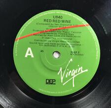 "UB40 Red Red Wine 7"" 45 rpm vinyl record + juke box title strip"