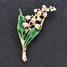Brosche Deko Emaille Geschenk Frauen Grün Blätter Maiglöckchen Deko Blume