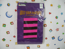 Adult Stripe Pantyhose HOT Pink &  Black One Size Fits Most New Sealed Ship Free