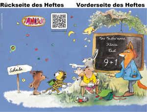 2 JANOSCH-Hefte A5, »Fröhliche Schulstunde«, Druck, Farbe und Lineatur wählbar
