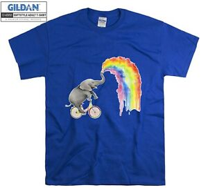 Elephant Spraying Rainbow Painting T-shirt T shirt Men Women Unisex Tshirt 6099