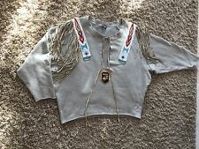 DOLCE & GABBANA EN COTON GRIS Ethnic Beaded Fringed Pull à manches longues taille L