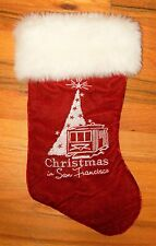 """CHRISTMAS IN SAN FRANCISCO~16"""" x 9"""" HOLIDAY 'Cable Car' STOCKING~Red Velveteen"""