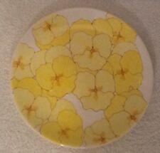 "RARE Mid Century Ernestine Salerno Italy 81/2"" Plate Vintage Yellow Pansies"