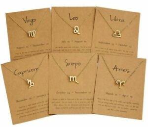 Zodiac Star Sign Horoscope Pendant Necklace Jewellery Gift Charm Astrology Sun