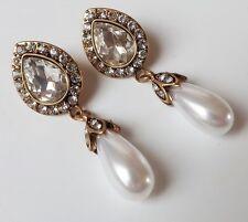 Perlen Ohrhänger Vintage Ohrringe Strass Tropfen Perle klar weiß antik gold