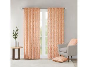 "Madison Park Ella 1 Window Curtain Panel With Orange Finish 42""W x 63""L"