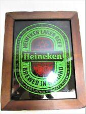 """Heineken Sign Glass green Brewed Holland 19"""" Collectible Vtg Glitter foil Beer"""