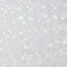 Sticky Back Holographic Paper, Silver Stars, 8.5 x 11 Inches, 3 Page Set