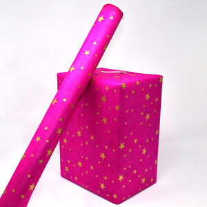 Lokta Wrapping Paper, Gold Stars on Hand made and Fair Trade wrapping Paper
