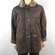 Nickelson Mens Leather Jacket Dark Brown Faux Fur Lining Full Zip Sz M Medium
