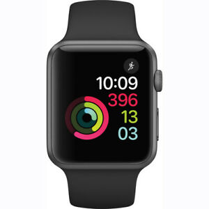 Apple Watch Series 1 42mm Smartwatch Space Gray Aluminum Case, Black Sport Band