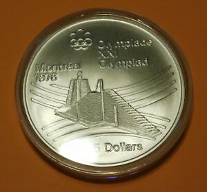 1976 Canadian $5.00 Olympic Village Silver Coin .7227 Oz Silver - UNC