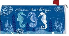 Seas The Day Seahorse Ocean Starfish Magnetic Mailbox Cover