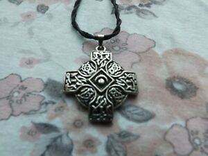 Celtic Moon Wicca Pagan Cross crescent moon vintage cord pendant goth necklace