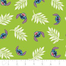 Disney Lilo & Stitch Palm Leaves Dark Lime 100% Cotton fabric by the yard