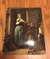 Vtg Antique Green Velvet Photo Album Victorian Maiden Woman Floral