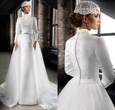 Long Sleeve High Neck Lace Muslim Vintage Bride Wedding Dress Size6-810-12-14-+