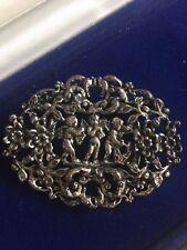 Vintage Miracle Floral & Cherub Angel Pin Brooch