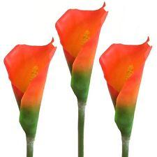 Confezione da 3 58cm ARTIFICIALI Calla Lily Fiori STELI-Orange Flower