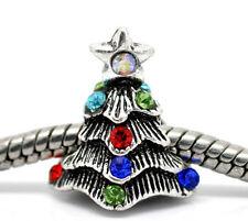 NEW Silver Tone Rhinestone Xmas Christmas Tree Charm Bead Fits European Bracelet