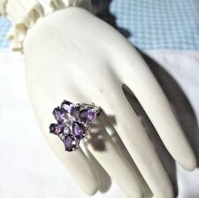 LOVELY Estate 70s-90s ster AMETHYST COCKTAIL RING ornate Tall -Sz 6.75/7 OR 17mm