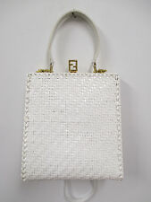 FENDI Vintage White Straw Bag w/ Detachable Leather Strap & Gold Hardware