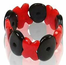 Tagua Red HUG and Black KISS Bracelet -Hugs and Kisses - Organic, Fair Trade