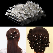 40X Bridal Hair Pins Rhinestone Pearl Diamante Flower Slide Clips Grips Wedding